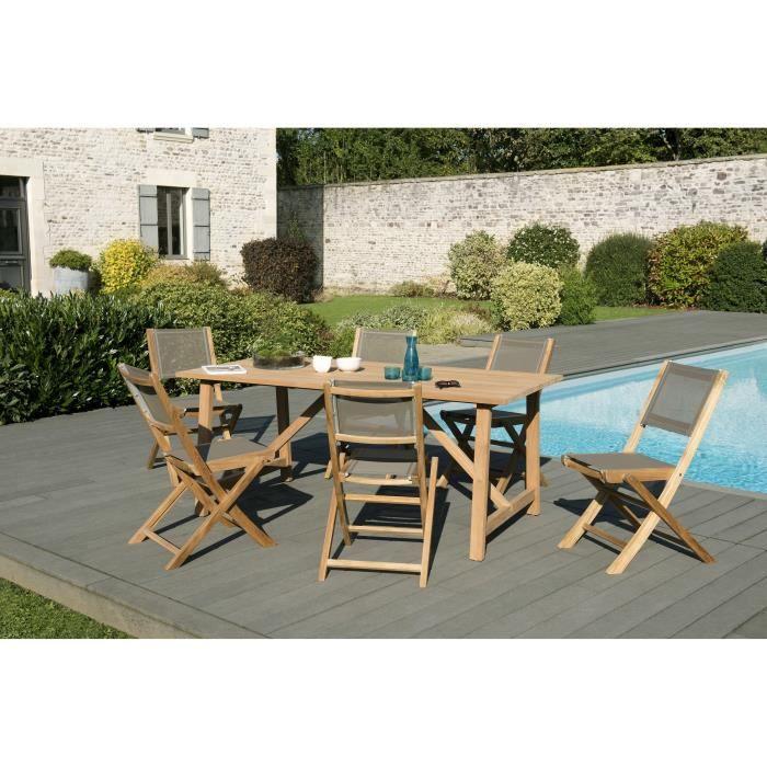 Ensemble de jardin en teck : 1 table Soho 180 x 90cm, couleur naturelle - 3 lots de 2 chaises pliantes en textilène, couleur taupe J