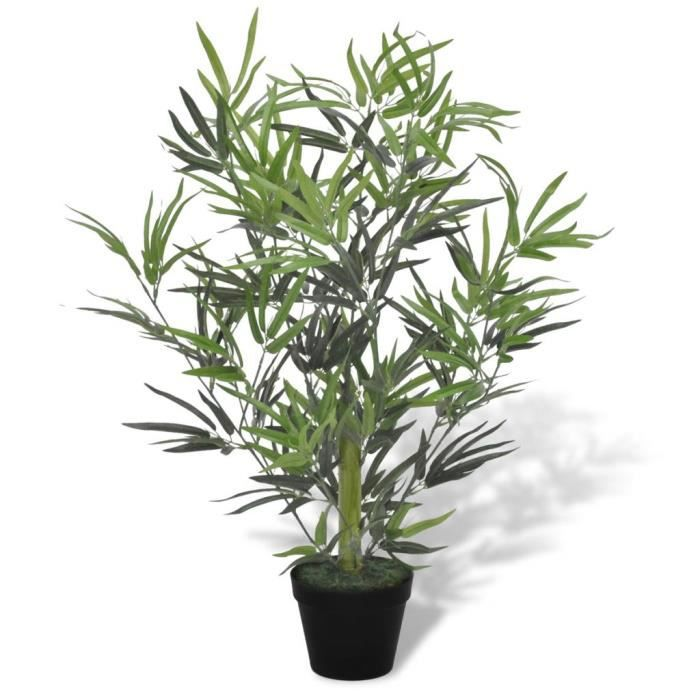 KAI Bambou artificiel avec pot 80 cm Fleurs - plantes artificielles plastique et fil métallique vert