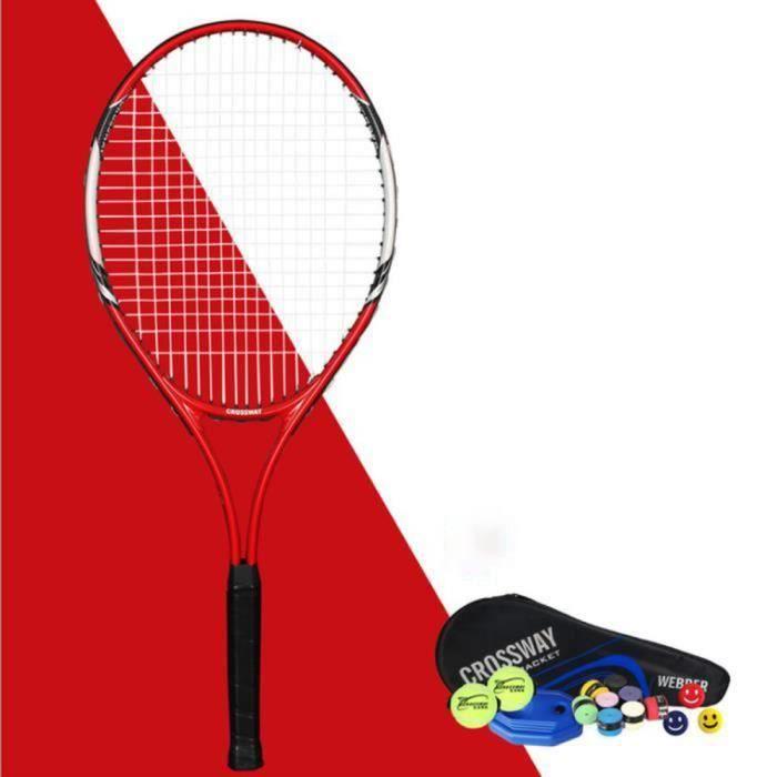 Raquette de tennis 1 paquet de raquette de tennis d'entraînement pour débutant en alliage d'aluminium de 27 pouces avec corde