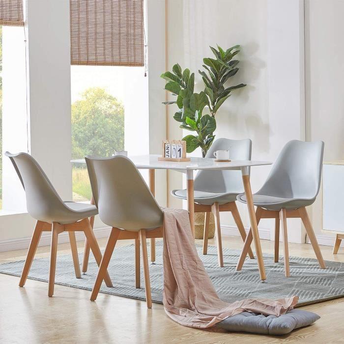 Ensemble Table à Mange Rectangulaire Laqué blanc + 4 Chaises de Salle à Manger Gris - Scandinave et Nordique