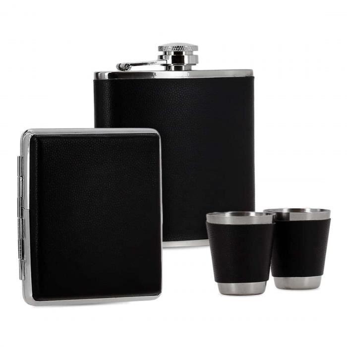 flasque à alcool et etui cigarettes simili cuir noir en coffret