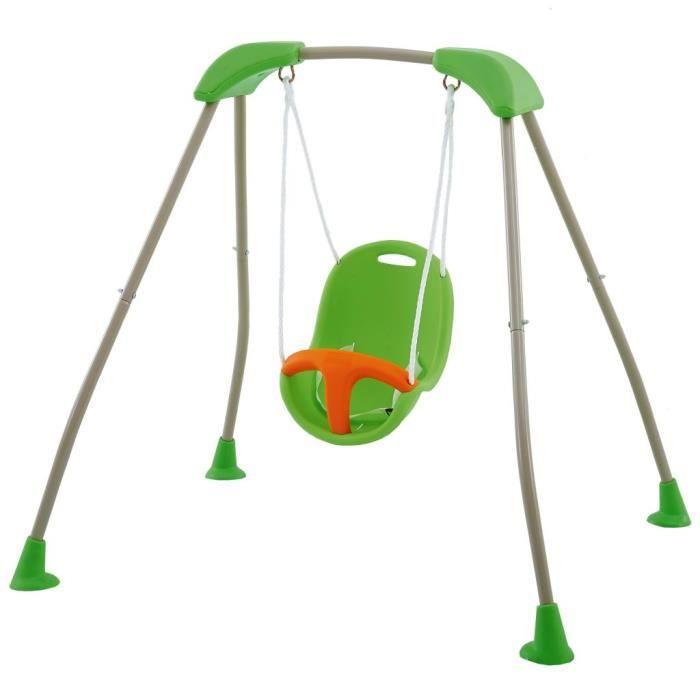 Joli & Mode 4645 - Balançoire Portique Design Moderne - Balançoire pour Enfants pliable de bébé Tatou Funny 118x142x124cm J-10180P8