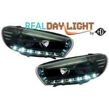 phares à LED diurnes, DragonLights, noir VW Scirocco, 08->> noir pour: Volkswagen Scirocco 08->>
