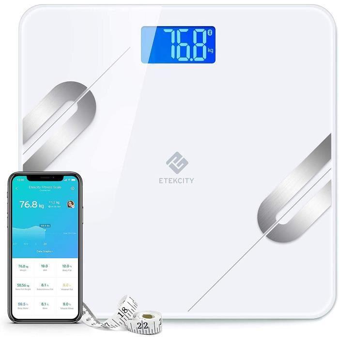 Etekcity Pèse Personne Impédancemètre, Balance Connectée Bluetooth, Composition Corporelle Intelligente Mesure Poids Masse Graisseus