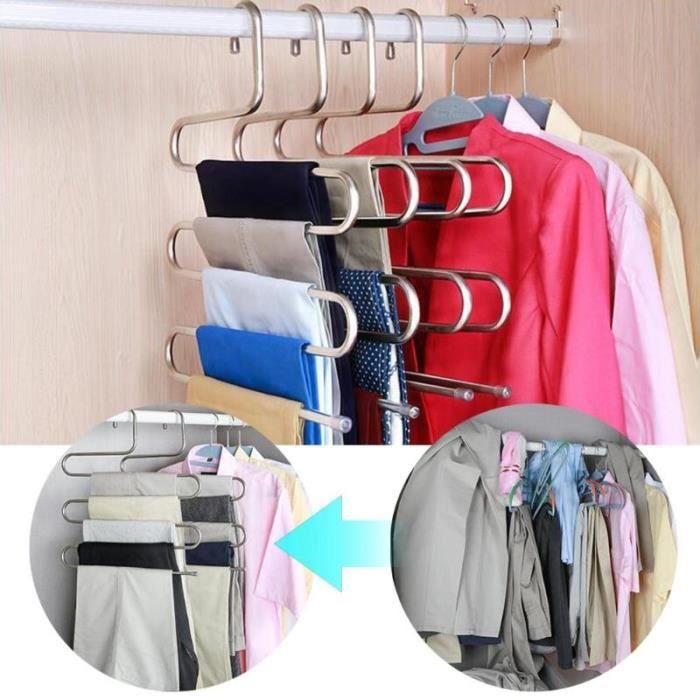 Acier inoxydable vêtements pantalon cintre gain de place placard support de ceinture support s-type 5 couches organisateur cintres