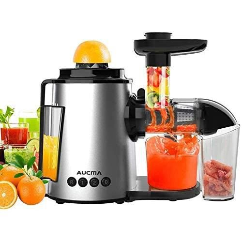 AUCMA Extracteur de Jus de Fruits et Légumes Sans BPA Slow Juicer Presse à Froid Machine avec moteur silencieux/tasse à jus/brosse d