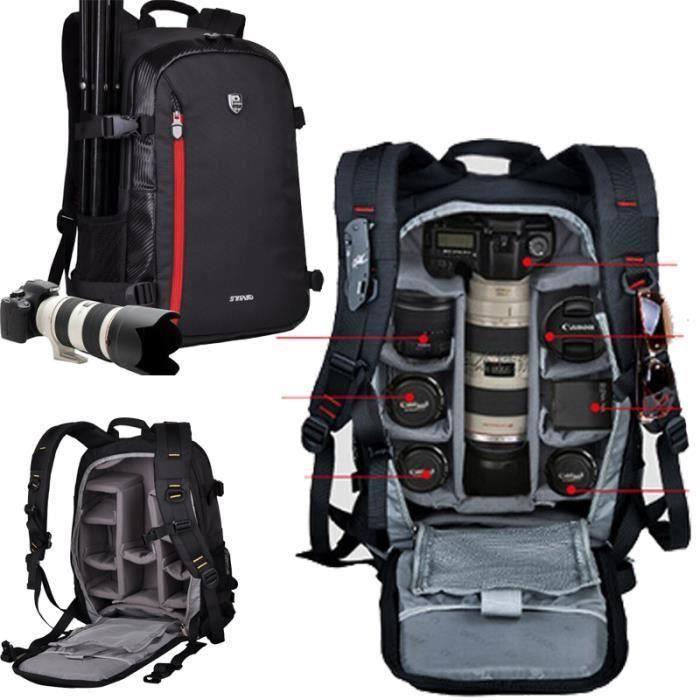 noir sac a dos appareil photo reflex imperméable pour canon pour nikon. sac de voyage. sac photo bandoulière reflex E44254