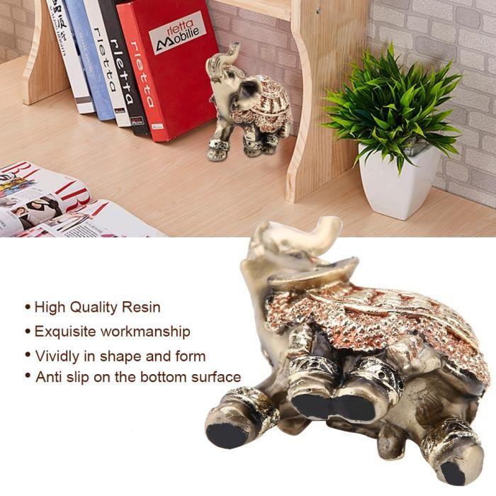 Sonew Figurine d'éléphant Chanceux Feng Shui Golden Elephant Statue Sculpture Richesse Figurine Cadeau Décoration (S)