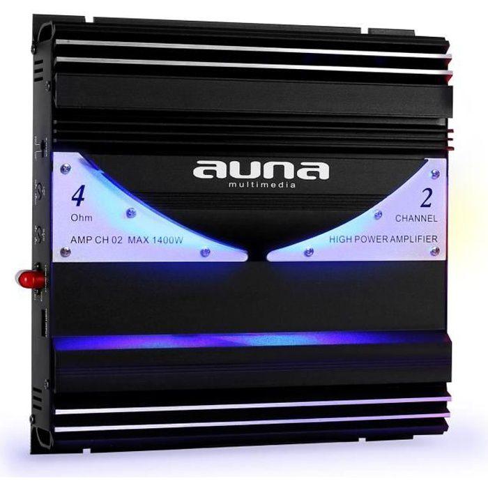 auna AMP-CH02 - Ampli auto hybride bridgeable 1 ou 2 canaux de 190W RMS avec effets LED (20Hz-20kHz, Entrée RCA/Line, 2 sorties)