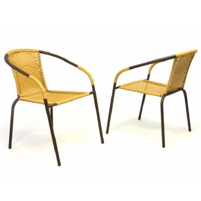 2 x chaises Bistro poly rotin empilable beige