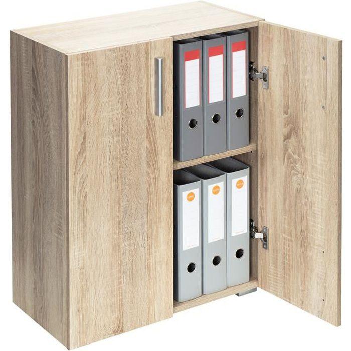Armoire polyvalente Meuble de rangement avec portes -Vela- Chêne 2 Compartiments