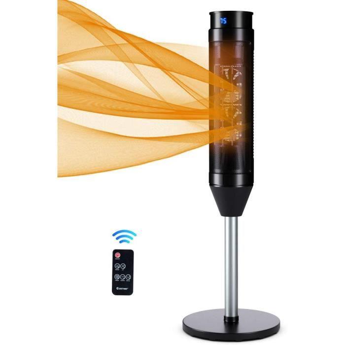 GOPLUS Radiateur Soufflant Céramique Colonne de1200W/2000Wavec Télécommande,Oscillation 40°,Thermostat Réglable 10-49°C,Minuteur 8H