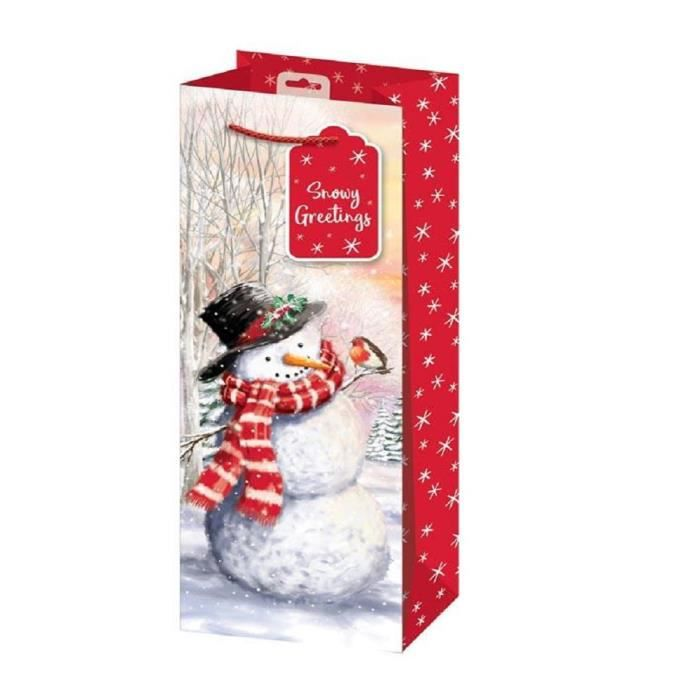 2 x sacs de bouteille de Noël Design Snowman traditionnel Snowman Design