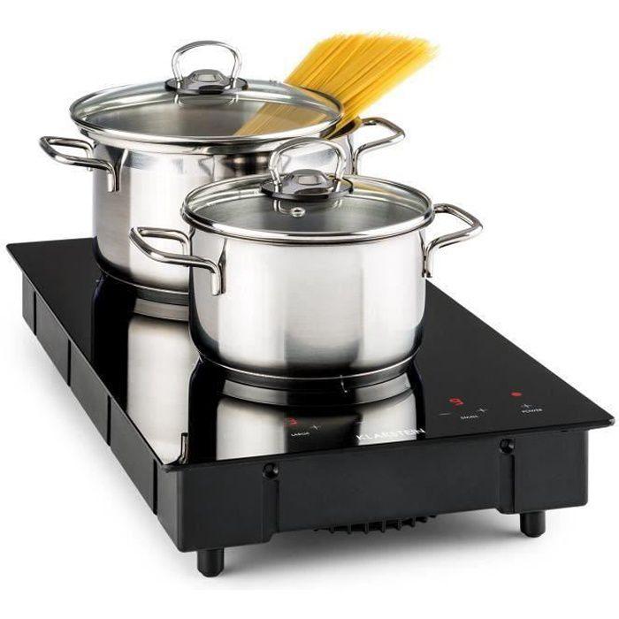 Klarstein VariCook Domino Double plaque de cuisson à induction , surface vitrocéramique - Foyers de 12 à 22cm - 3100W max.