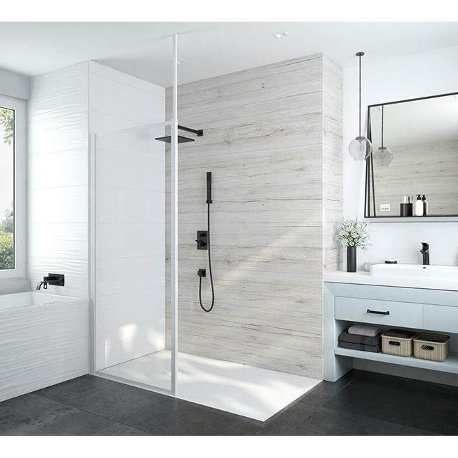 Leda - Paroi fixe douche ouverte 1200x1900 mm verre transparent profilé blanc - ATOUT 3