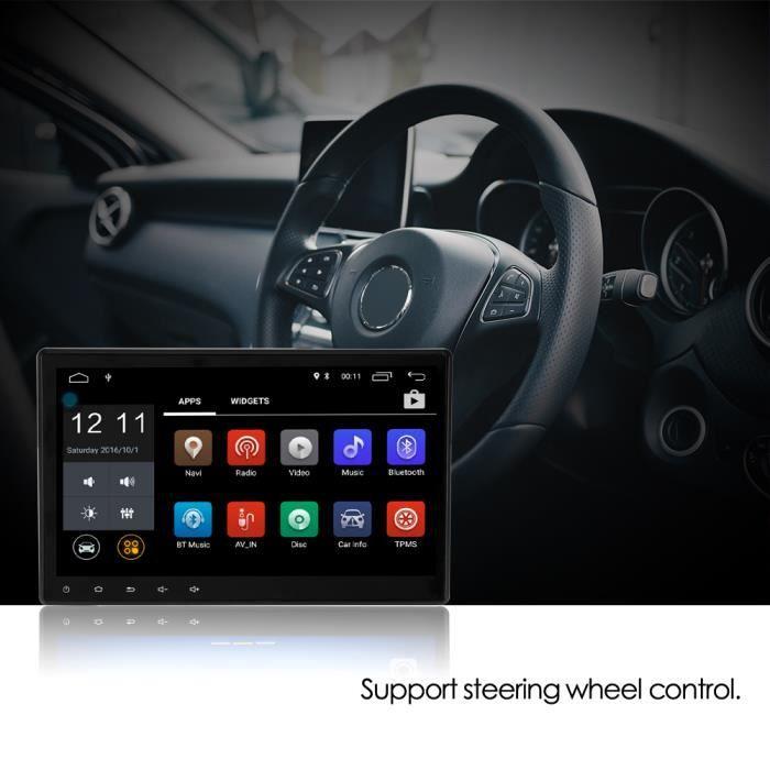 10.1- Autoradio Voiture Stéréo Lecteur MP5 1 Din Android 6.0 Quad Core
