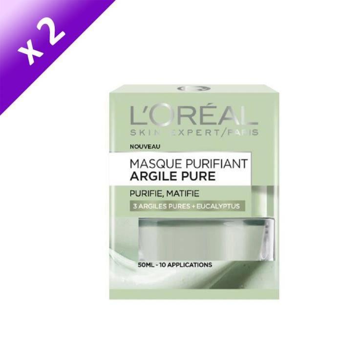 [LOT DE 2] L'ORÉAL PARIS - Masque Visage Purifiant Argile Pure - 50 ml