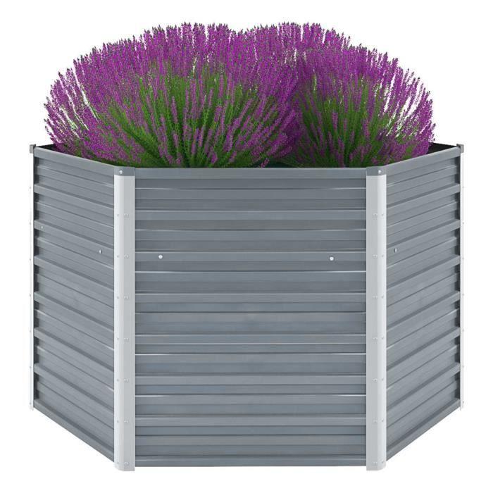 Lit surélevé de jardin Acier galvanisé 129x129x77 cm Gris Pot de Fleurs Bac de Fleurs Jardinière Jardin Extérieur