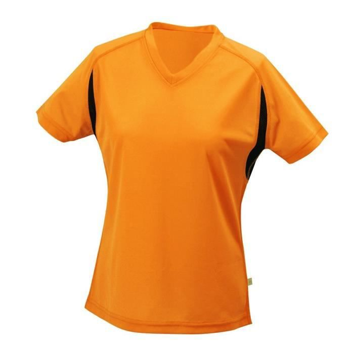 t-shirt running respirant JN316 - orange - FEMME