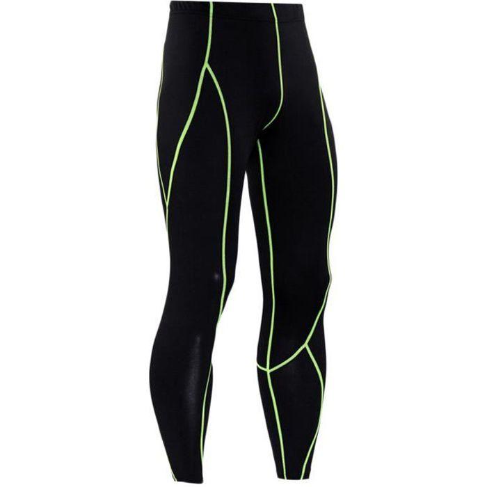 Legging Sport Homme Collant Running Fitness Pantalon De Compression Slim Fit Respirant Vert 2XL