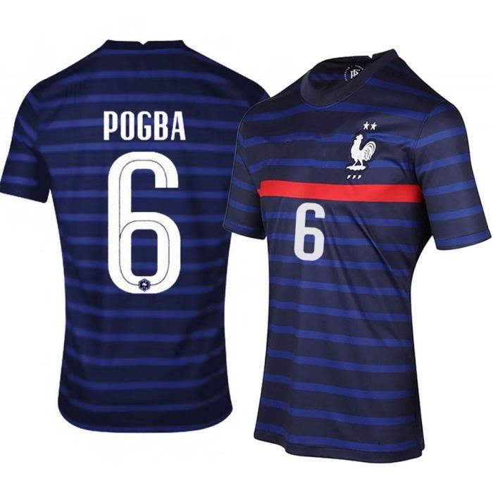 Maillot de Football France 2021 POGBA 6 T-Shirt de L'équipe FFF Domicile Maillot de Formation Tissu Respirant Bleu Junior Enfant