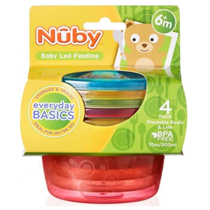 Nuby Bols empilables avec couvercles x4