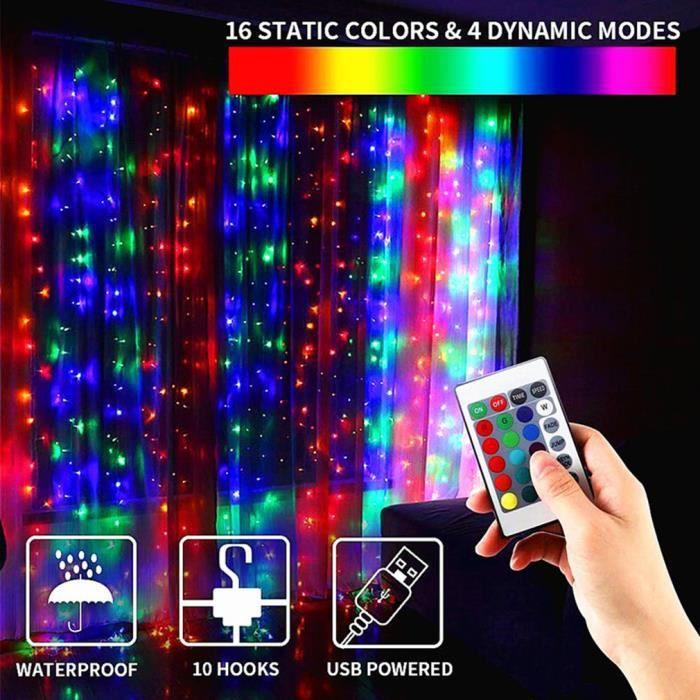3 * 3 M Lumières de rideau de chaîne LED 16 couleurs 300 lumière Télécommande RVB à changement de couleur