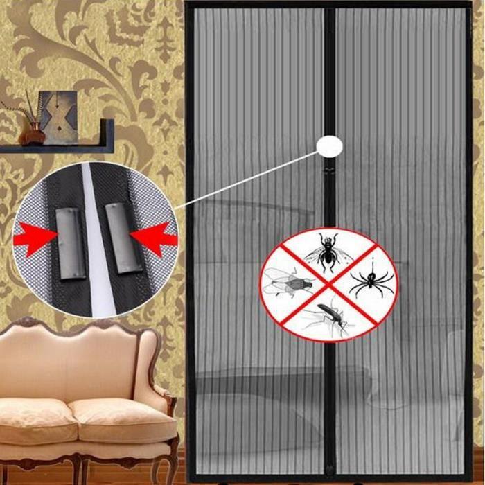 Maille moustiquaire en fibre de polyester magnétique pour la porte 110*210cm noir