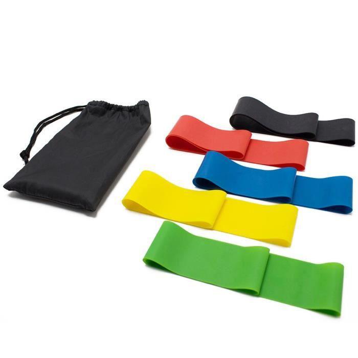 Lot de 5 Bande de Résistance Élastique Fitness en Latex Naturel pour Musculation Pilates Yoga -5 Niveaux de Force-avec Sac de