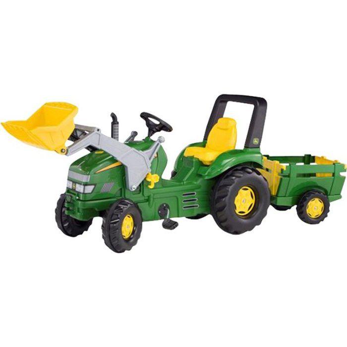 ROLLY TOYS X Tracteur à pédales John Deere+ Pelle avant + Remorque Farm Trailer