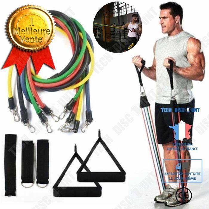 TD® 11 Pièces / Set Résistance Tubes Gym Fitness Workout Exercice Poignées bandes de yoga Accessoiree de Fitness et de Musculation