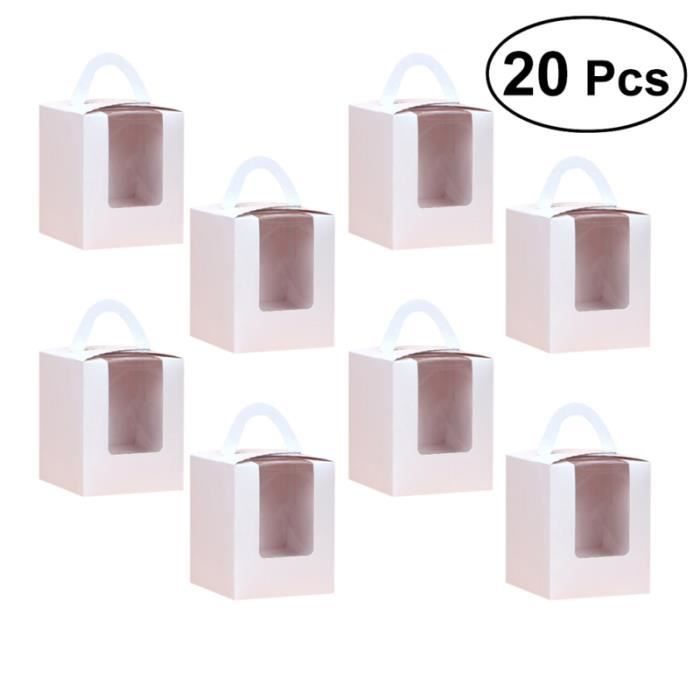 Lot de 20 conteneurs de boîtes à cupcakes portables avec support inférieur en carton pour PRESERVATION BOXES - SEALED BOXES