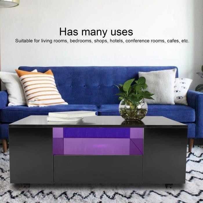 Table à thé rectangle de table basse à LED haute brillance Vente Chaude
