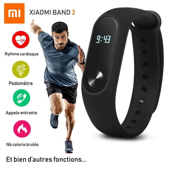 Montre Xiami Mi Band 2 Noire - Ecran Oled - Capteur d'activité et de fréquence cardiaque