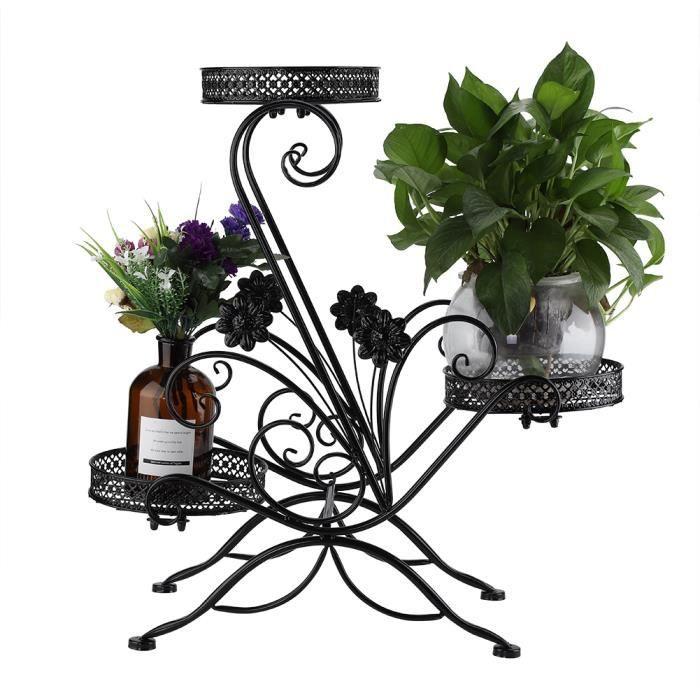 Porte pots plante fleurs 3 étagères support jardin en métal