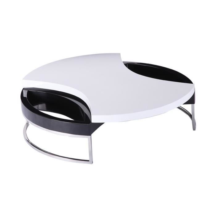 Table basse design noir et blanc laqu e triangle achat for Table basse noir et blanc