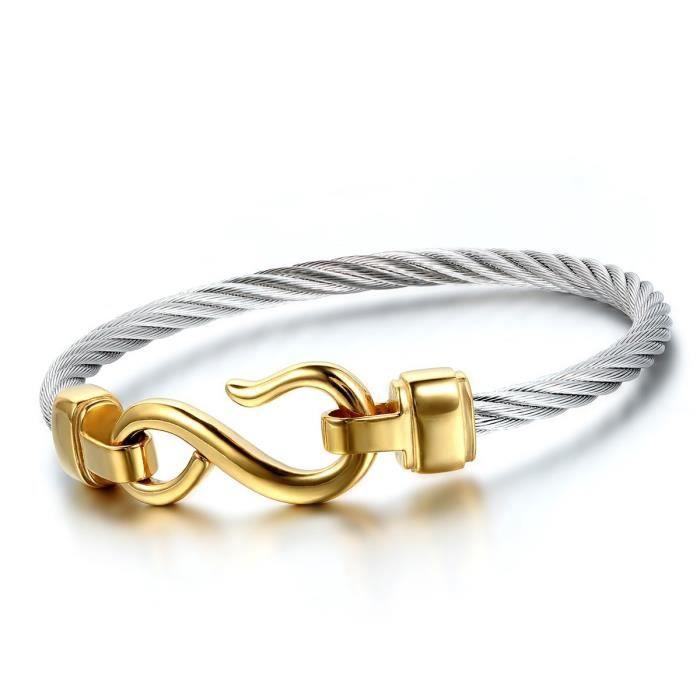 Fashion Femmes hommes Infinity En Acier Inoxydable Bijoux Perles Bracelet Cuff Bangle