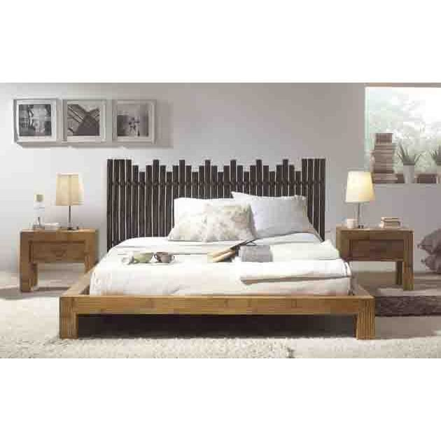lit avec pied de lit bas en bambou mod le sul achat vente structure de lit cdiscount. Black Bedroom Furniture Sets. Home Design Ideas