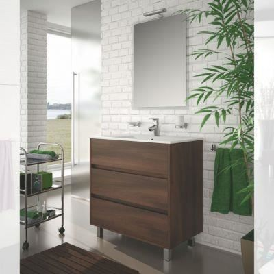 meuble salle de bain 80 cm couleur marron achat vente ensemble meuble sdb meuble salle de. Black Bedroom Furniture Sets. Home Design Ideas