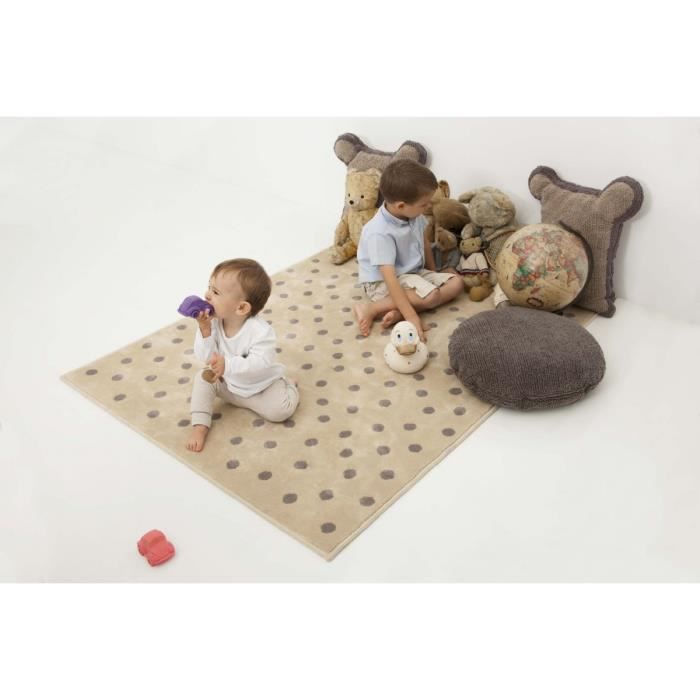tapis gris et taupe pour chambre d 39 enfant dots lorena canals 120x160cm taupe achat vente. Black Bedroom Furniture Sets. Home Design Ideas