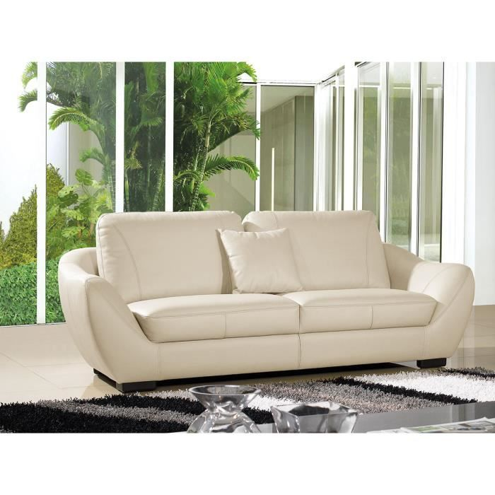 canap cuir 3 places julietta beige achat vente canap sofa divan cdiscount. Black Bedroom Furniture Sets. Home Design Ideas