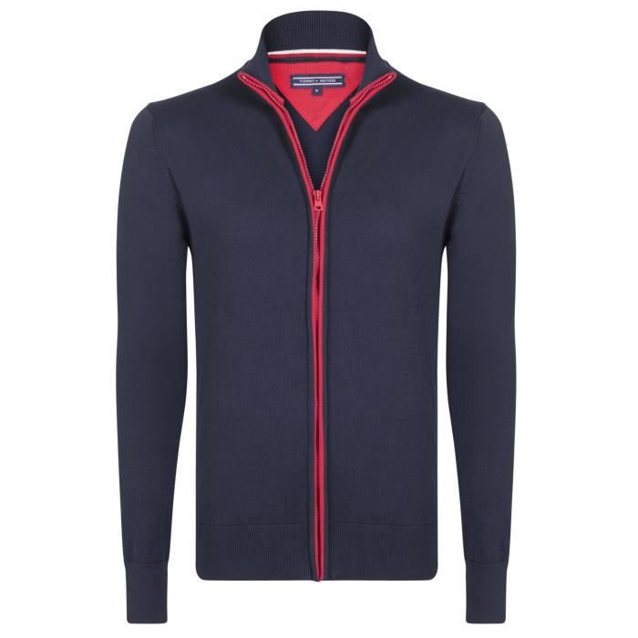 PULL Tommy Hilfiger Homme Pull Fermeture Eclair Bleu Ma