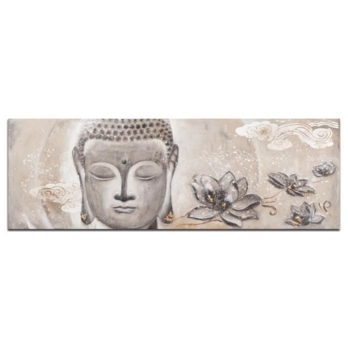 bouddha tableau zen 3d panoramique gris acrylique 160x60 achat vente tableau toile. Black Bedroom Furniture Sets. Home Design Ideas