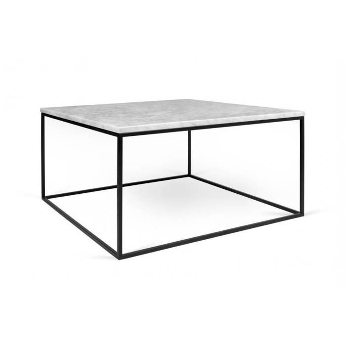 Table Basse Rectangulaire Gleam 75 Plateau En Marbre Blanc Structure Noire