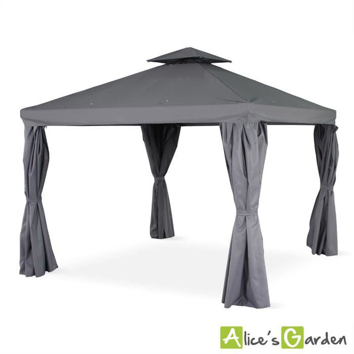 tente de jardin pergola aluminium 3x3m divodorum gris. Black Bedroom Furniture Sets. Home Design Ideas