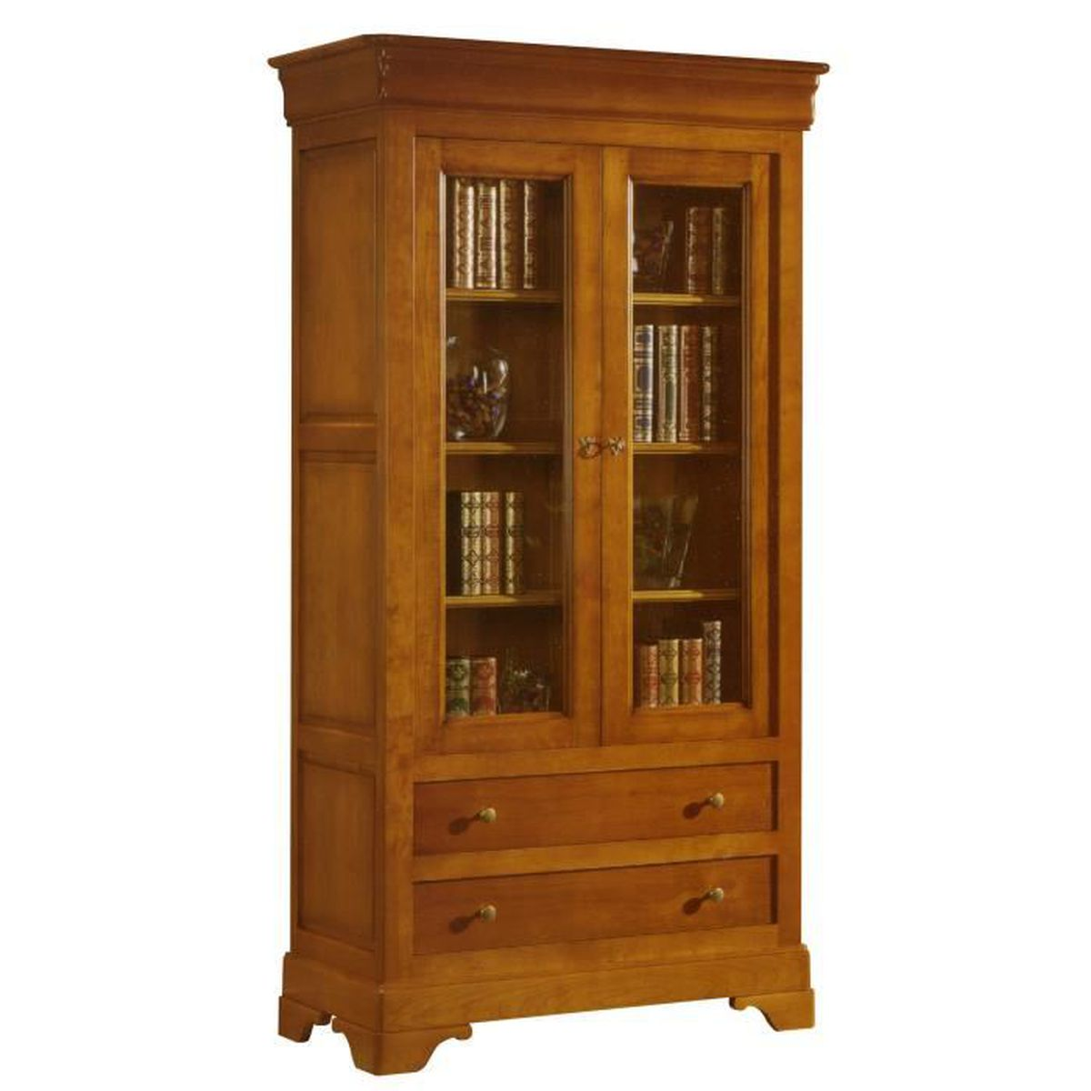biblioth que 2 portes vitr es 2 grands tiroirs en ch ne massif achat vente biblioth que. Black Bedroom Furniture Sets. Home Design Ideas
