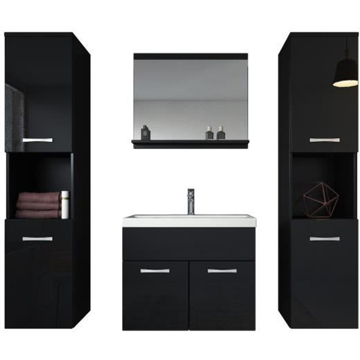 meuble de salle de bain de montr al xl 60x35cm bassin en bois noir brillant armoire de. Black Bedroom Furniture Sets. Home Design Ideas
