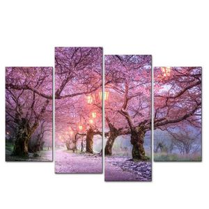 TABLEAU - TOILE 4 Pcs/Set Rose Cherry Tree Wall Art Canvas Print P
