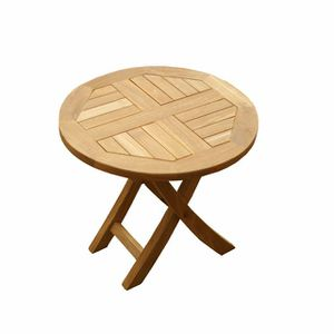 Table basse Pliante Ronde en teck Diam. 50 cm - Achat / Vente table ...