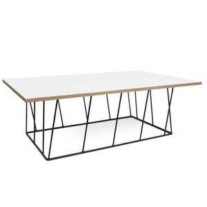 TABLE BASSE Table basse HELIX 120 plateau blanc mat/bois struc